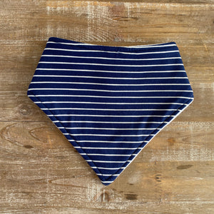 Bandana Bib in Navy with White Stripes