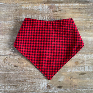 Bandana Bib in Red Buffalo Check Flannel