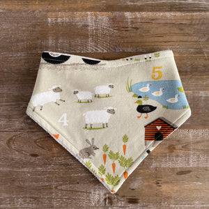 Bandana Bib in Farm Friends Gray