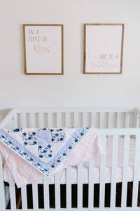 En Pointe Crib Quilt featuring Midnight Peonies by Indy Bloom Design