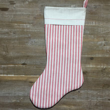 Red & White Striped Farmhouse Christmas Stocking