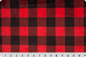 Fitted Crib Sheet in Red Buffalo Check Minky