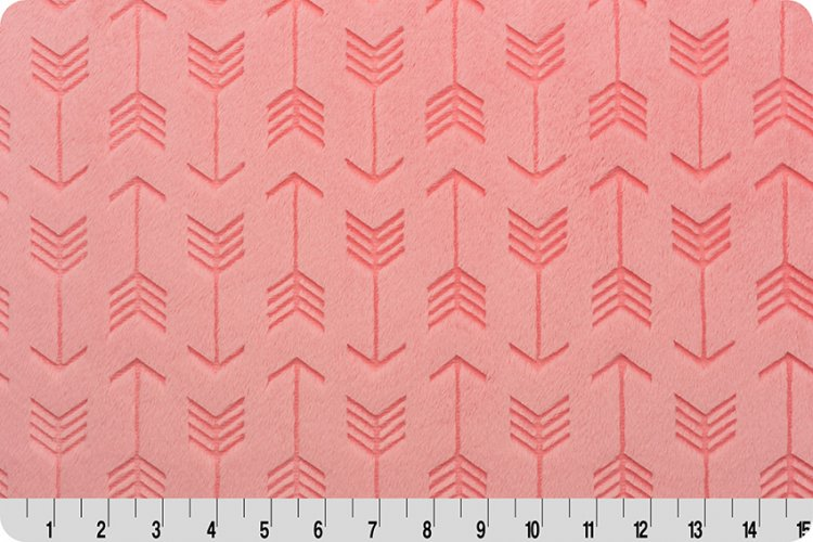 Fitted Crib Sheet in Coral Embossed Arrow Minky