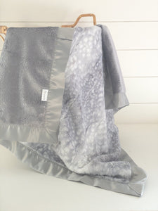 Gray Glam with Silver Fawn Fur and Graphite Sparkle Minky