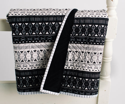 Black & White Mudcloth Toddler Quilt