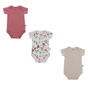 Short Sleeved Onesie Trio Pack, Girl Print