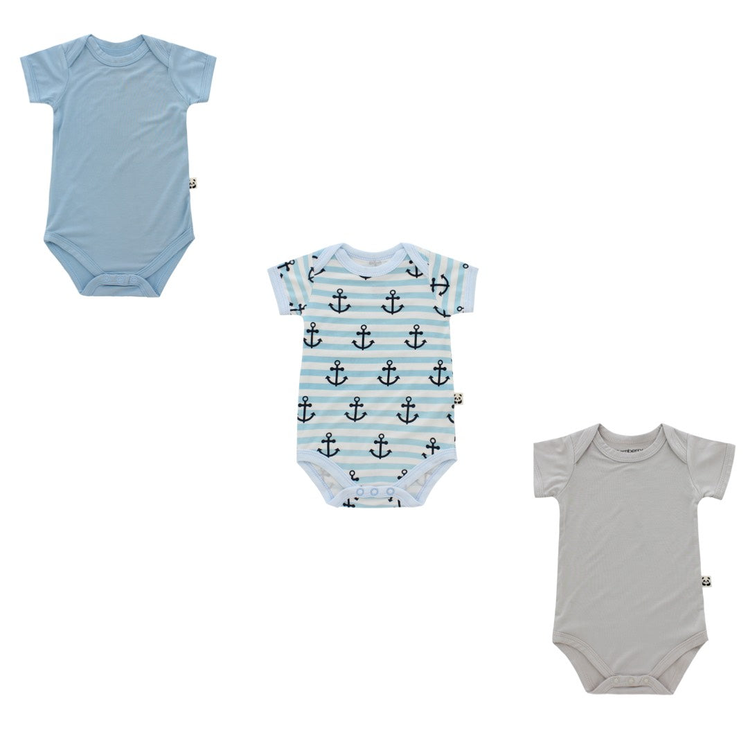 Short Sleeved Onesie Trio Pack, Boy Print