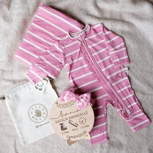Bamberry Stripes Romper Set x Hello World MNL Personalized Birth Details Disc