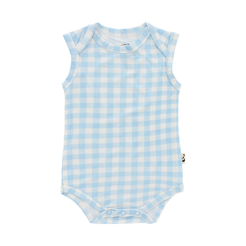 Sleeveless Onesie, Blue Gingham