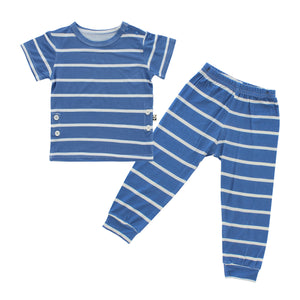 Short Sleeves Pajama Set, Denim Stripes
