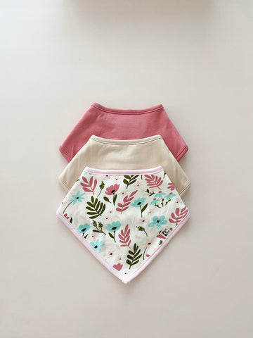 Trio Bandana Bib Set, Girl print