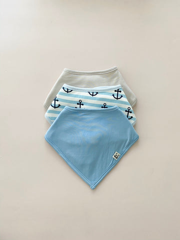 Trio Bandana Bib Set, Boy print