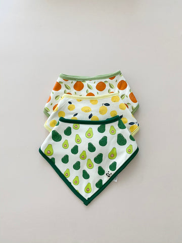 Trio Bandana Bib Set, Fruits
