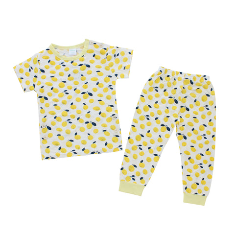 Short Sleeves Pajama Set, Lemon