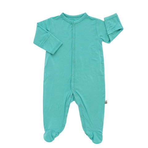 Footed Romper, Aqua Splash
