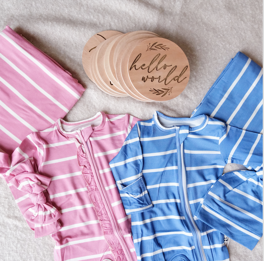 Bamberry Stripes Romper Set x Hello World MNL Monthsary Wooden Disc