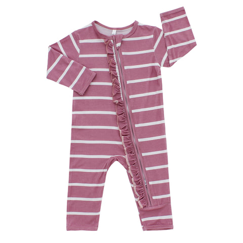 Zippered Romper, Pink Stripes