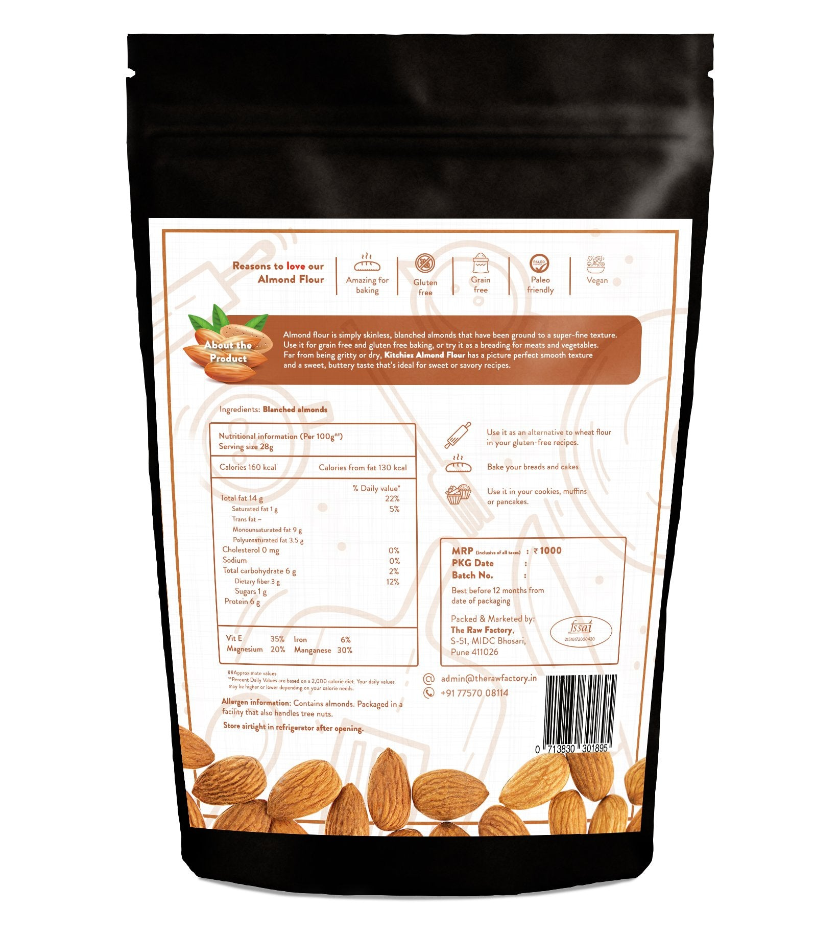 Kitchiez Blanched Almond flour 400g