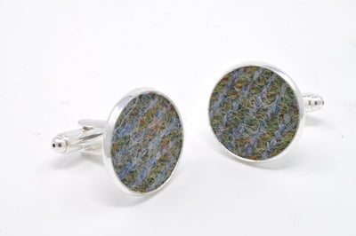 Harris Tweed Cufflink and Hip Flask Gift Set
