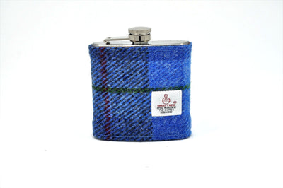 Harris Tweed Hip Flask blue HT01 on its own