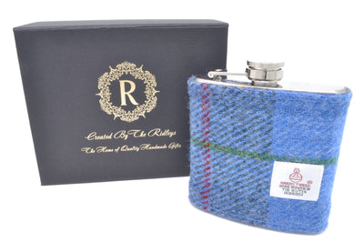 6oz Stainless Steel Hip Flask wrapped in Blue Tartan Harris Tweed Sleeve