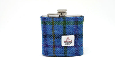 Harris Tweed Hip Flask blue HT02 on its own