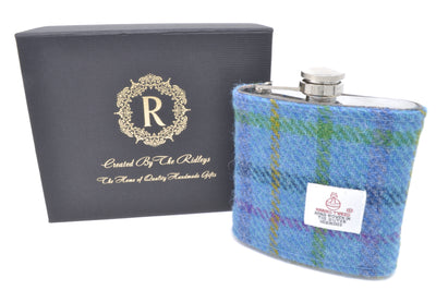 6oz Stainless Steel Hip Flask wrapped in Blue stripped Harris Tweed Sleeve