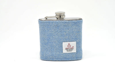Harris Tweed Hip Flask light blue HT04 on its own