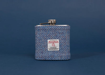 Harris Tweed Hip Flask - Blue Herringbone