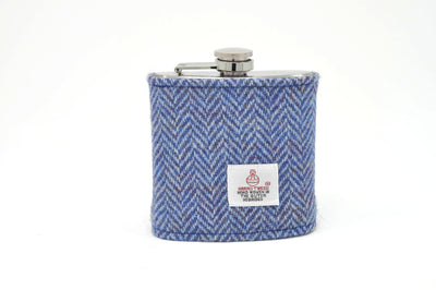 Harris Tweed Hip Flask herringbone blue and white HT05 on its own