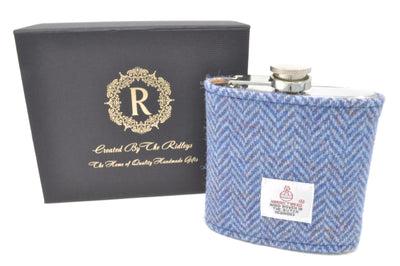6oz Stainless Steel Hip Flask wrapped in Blue Herringbone Harris Tweed Sleeve