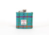 Harris Tweed Hip Flask - Turquoise