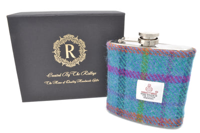 6oz Stainless Steel Hip Flask wrapped in Teal stripped Harris Tweed Sleeve