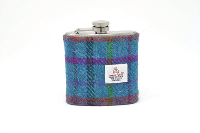 Harris Tweed Hip Flask Teal with multicolored cross hatching HT06 on its own
