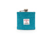 Harris Tweed Hip Flask Turquoise Herringbone