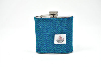 Harris Tweed Hip Flask blue and green herringbone HT07 on its own