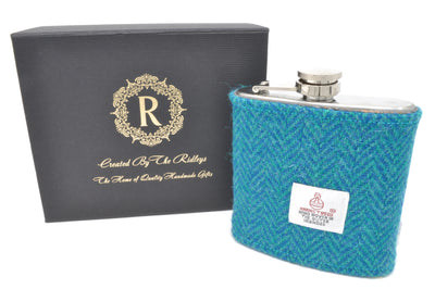 6oz Stainless Steel Hip Flask wrapped in Teal Herringbone Harris Tweed Sleeve