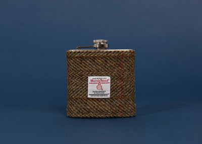 Harris Tweed Hip Flask Olive Hunting Herringbone Tweed
