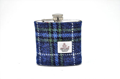 Harris Tweed Hip Flask Blue and green cross hatch tartan HT10 on its own