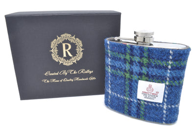 6oz Stainless Steel Hip Flask wrapped in Navy Blue Patterned Harris Tweed Sleeve