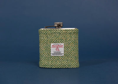 Harris Tweed Hip Flask - Green Herringbone