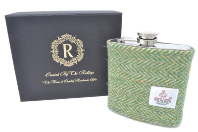 6oz Stainless Steel Hip Flask wrapped in a Green Herringbone Tartan Harris Tweed Sleeve