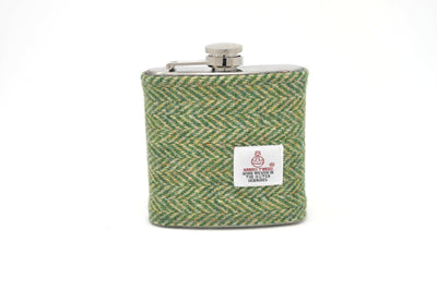 Harris Tweed Hip Flask Green and white Herringbone HT11 on its own