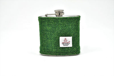 Harris Tweed Hip Flask Green HT12 on its own
