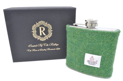 6oz Stainless Steel Hip Flask wrapped in a Plain Emerald Green Harris Tweed Sleeve