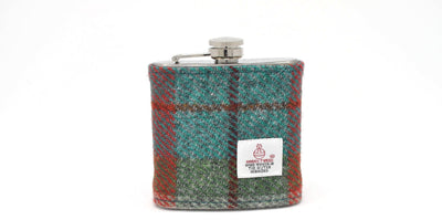 Harris Tweed Hip Flask Orange and Green HT13 on its own