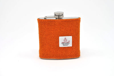 Harris Tweed Hip Flask Orange HT15 on its own