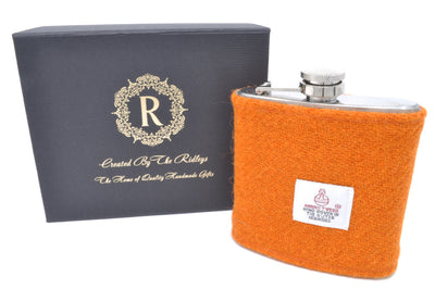 6oz Stainless Steel Hip Flask wrapped in Plain Orange Harris Tweed Sleeve