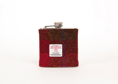 Harris Tweed Hip Flask - Red and Brown