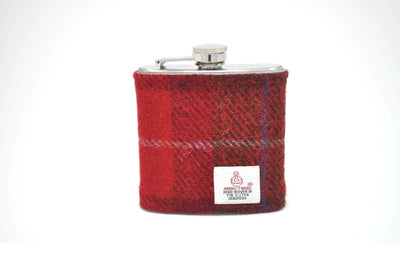 Harris Tweed Hip Flask black and red HT17 on its own